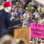 MOBILE, AL- AUGUST 21: A supporter holds up a sign as Republican presidential candidate Donald Trump speaks during a rally at Ladd-Peebles Stadium on August 21, 2015 in Mobile, Alabama. The Trump campaign moved tonight's rally to a larger stadium to accommodate demand. (Photo by Mark Wallheiser/Getty Images)